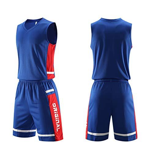 Camiseta De Baloncesto Sin Mangas NBA Tops Chaleco Y Pantalones Cortos Entrenamiento Trajes de Ropa Deportiva Mujer niña niño,Blue,3XL(175-180)
