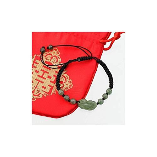 lachineuse Bracelet PIXIU en Jade - Symbole Feng Shui de Richesse et Protection - Pochette en Satin Offerte