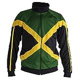 JL Sport Auténtica Jamaica Reggae Hombrega Larga Cremallera De La Chaqueta - Unisex (Negro, Verde Y Amarillo) - L