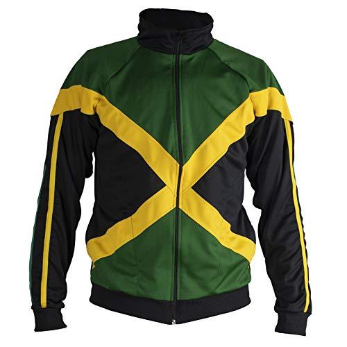 JL Sport Autentica Giamaicano iche Lunghe Reggae Cerniera Giacca - Unisex (Nero Verde E Giallo) - S