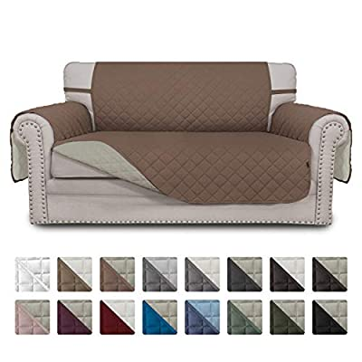 Easy-Going Sofa Slipcover Reversible Loveseat Cover Water Resistant Couch Cover Furniture Protector with Elastic Straps for Pets Kids Children Dog Cat(Loveseat,Brown/Beige)