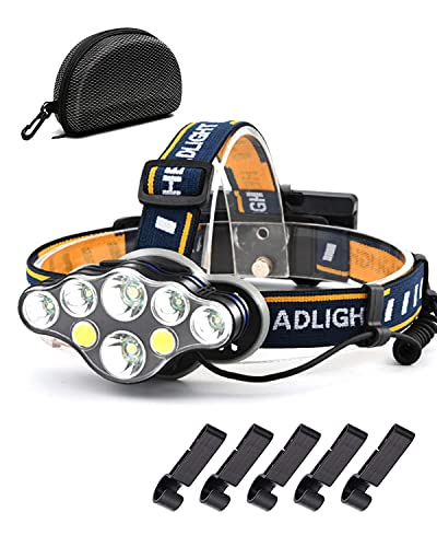 Head Torch Rechargeable – Super Bright 18000 Lumens Storage Bag 5 X Clips...