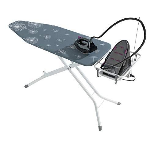 Wenko Bügeltisch Professional, extra breites Bügelbrett mit großer Ablage für die Dampfbügelstation, mit Bügelbrettbezug, geeignet für Dampfbügeleisen, Metall, 130 x 99 x 48 cm, weiß/blau - 5