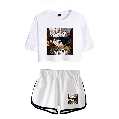 The Promised Neverland Emma Norman Ray Crop Tops y Shorts para Mujeres Niñas, Conjunto de Pijamas Harajuku de Verano con Estampado Sexy de Verano