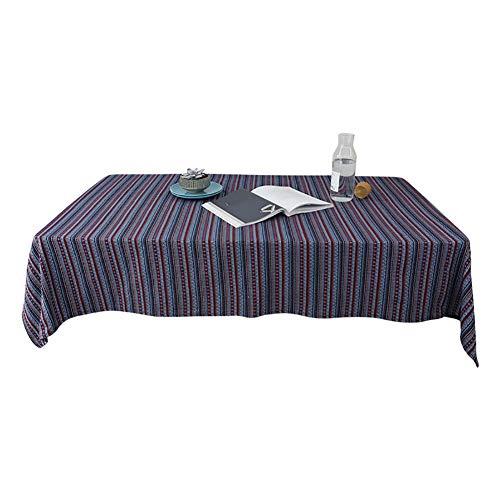 Coton Tissu Restaurant Nappe carré rayé Style Ethnique Linge de Table de thé, Camping, Peut être personnalisé,145 * 220cm