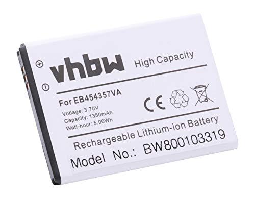 vhbw Batería Recargable Compatible con Samsung Galaxy GT-S5368, GT-S5369, Pocket, Pocket Plus, Y Duos móvil, Smartphone (1300 mAh, 3,7 V, Li-Ion)