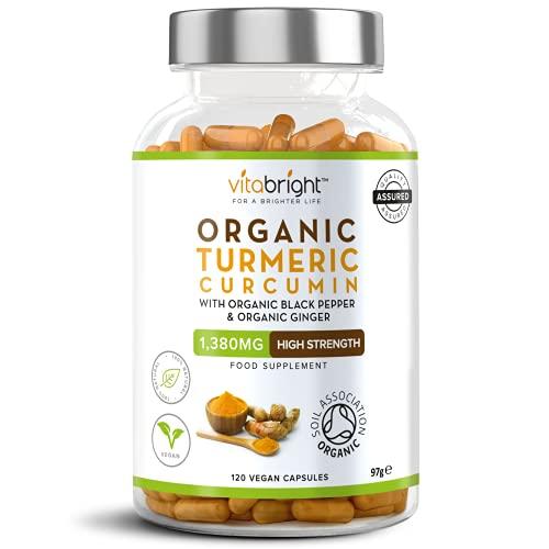 Organic Turmeric Curcumin 1380mg with Organic Black Pepper & Organic Ginger - High Potency - 120 Veg Capsules - Certified Organic, Non GMO, Vegan & Gluten Free