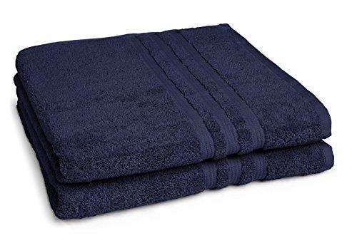 sleepling Duschtuch Badetuch 2er Set 70 x 140 cm, 100% Baumwolle (550 gr. / m²), Marine