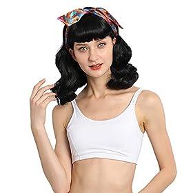 DIFEI Rockabilly Vintage Wig Audrey Hepbum Short Bang Wig Long Finger Wavy Wigs for Women (Black)