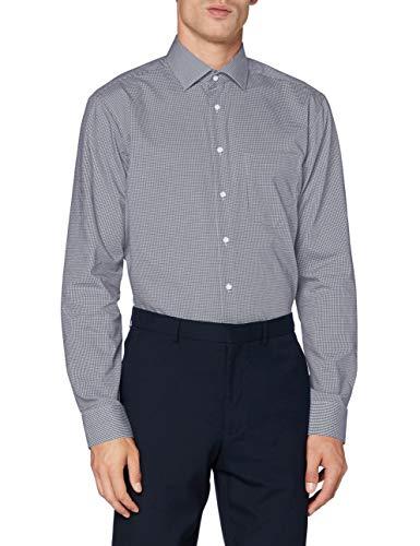 Seidensticker Herren Business Hemd Regular Fit Businesshemd, Blau (Dunkelblau 19), (Herstellergröße: 46)