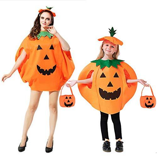 Lifreer Disfraz de calabaza para adultos y niños, disfraz de calabaza, ropa de calabaza, con bolsas de calabaza, para Halloween, fiesta de cosplay