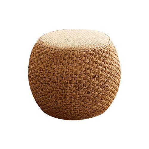 LTINN Ratán Hecho a Mano, Tatami Paja realzada taburetes pequeños y Sencillos para el té en la Sala de Estar y el Dormitorio, Marco de Madera Maciza Material Natural Puro Tejido a Mano
