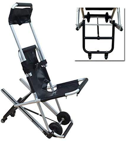 FanYu Tragbare Faltbare Treppenbahre Medical Lift Treppenstuhl, Krankenwagen Feuerwehrmann Evakuierung mit Schnellverschlüssen für ältere Menschen, Behinderte (schwarz)