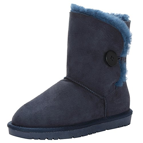 Jamron Women Classy Sheepskin Mid-Calf Snow Boots Warm Shearling Wool Lined Winter Boots with Button Navy SN021013 UK4