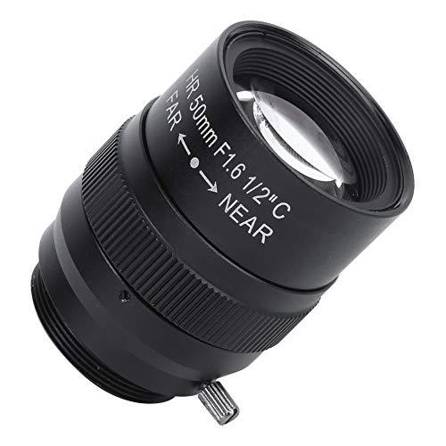Goshyda Camera len, Profesional portátil 50 mm f1.6 CCTV C Mount Universal Multi-Layer Coating Camera len Accesorio, para cámara Digital, Negro