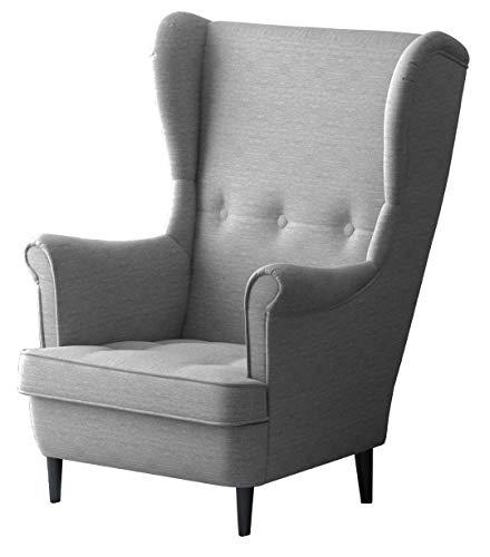 Leo Lounge Sessel mit Armlehnen, Stuhl aus Stoff mit Holz Füßen, Ohren- & armlehnensessel, Polsterstuhl, Ohrensessel, Ohrensessel groß, für Esszimmer & Wohnzimmer (Hellgrau, Mit Hocker)