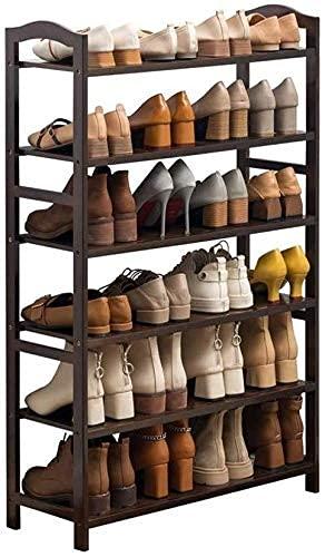 ZXL Mueble Zapatero, estantes del Organizador de Almacenamiento de 6 Niveles de bambú sostienen hasta 24 Pares de Zapatos, para baño, Sala de Estar y Corrido-marrón Oscuro (Color : 50cm)