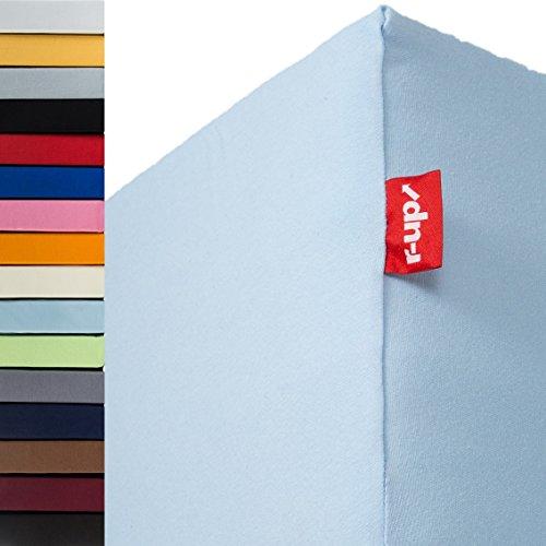r-up Beste Spannbettlaken 180x200-200x220 bis 35cm Höhe viele Farben 95% Baumwolle / 5% Elastan 230g/m² Oeko-Tex stressfrei auch für Boxspringbetten (hellblau)