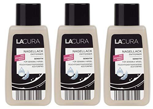 Lacura Nagellack Entferner Sensitiv Acetonfrei 3er-Pack(3x125ml)