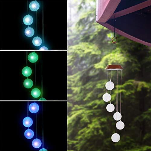 OSALADI Solar Windspiele, solarbetriebene Ball Windspiele im Freien Farbwechsel Hängende Windspiele Licht für Garten Garten Terrasse Weg Weg Dekor