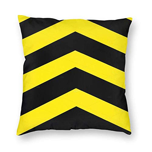 JONINOT Yellow and Black Arrow Background with Hexagon Pattern Square Cushion Cover Pillowcase 18'x 18' for Home Bedroom/Living Room/Car