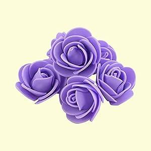 Silk Flower Arrangements 100-500pcs Artificial Foam Rose Heads 3.5cm Flower for DIY Bouquet Home Wedding Decorative PE Teal Touch Flowers Valentine Gift (Color : Lilac, Size : 100pcs)
