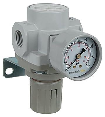"""PneumaticPlus SAR400-N04BG Compressed Air Pressure Regulator 1/2"""" NPT - Bracket, Gauge by PneumaticPlus"""