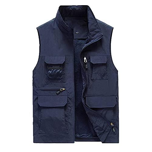 Verano malla multi bolsillo chaleco hombres más masculino casual sin mangas chaqueta con bolsillos pesca senderismo fotografía chaleco
