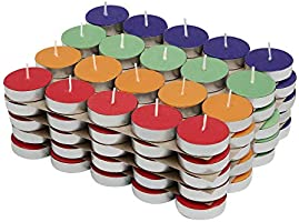 Amazon Brand - Solimo Colored Wax Tealight Candles (Set of 100, Unscented)