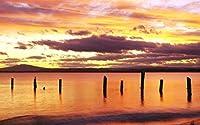 日の出、赤い空、ブリッドポート、北東部のタスマニア州、オーストラリア キャンバスの 写真 ポスター 印刷 旅行 風景 景色(59.4cm×84cm)