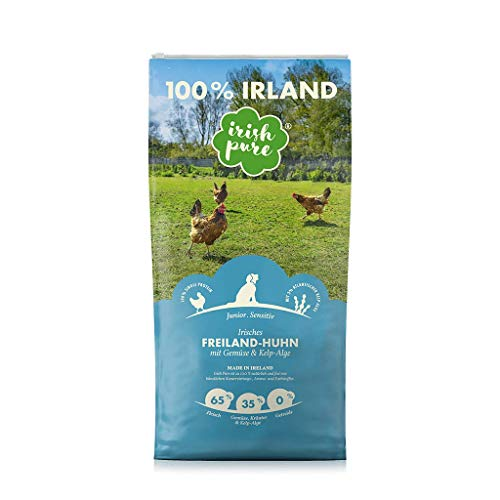 Irish Pure Junior Freiland-Huhn mit Kelp-Alge & Gemüse - Welpen Trockenfutter für wachsende Hunde, Hoher Fleischanteil, Getreidefrei, Sensitiv, Puppy, Hundetrockenfutter, Hundefutter (1,5kg)