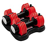 Adjustable Dumbbells 10-50lbs Weight for Men Women,Dumbbell Set with Handle and Weight Plate for Gym,Home,Workout Exercise,Barbell Weight Set Strength Training Core Fitness(Set of 2)
