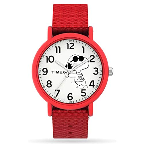 Timex TW2T66000 Unisex Snoopy Joe Cool Dog 34mm Red Slip-Thru Fabric Band Analog Watch