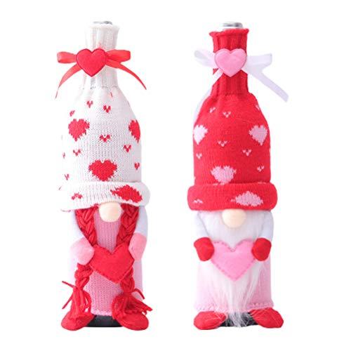 2 fundas de felpa para botellas de vino, decoración hecha a mano, sin cara, fundas de vino de San Valentín, juguetes de felpa para niños y adultos, decoración del hogar