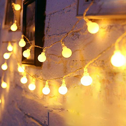 Globe String Lights Battery Operated Warm White ,Water Proof 2 Pack 19.7FT 40 LED Globe Fairy String Light 8 Modes with Remote Control , for Home, Party, Christmas, Wedding, Garden Decoration