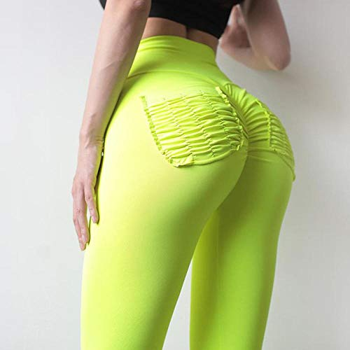QFYD FDEYL Pantalones de Chándal Leggings,Leggings de Yoga de Cadera para Mujer, Pantalones de chándal de Cintura Alta-Amarillo Verde_M,Mujer de Espalda Abierta Yoga Camiseta