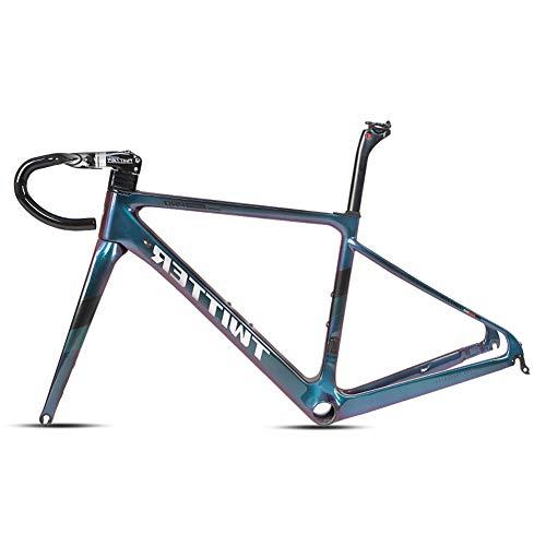 Cuadro De Carbono De Bicicleta T900 700 * 28C C Freno BB86 * 46Mm Cuadro De Bicicleta De Carretera De Carbono Cuadro De Carreras De Bicicleta Vástago Del Manillar Hecho EPS Completamente Oculto,45cm