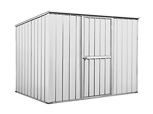 Notek Srl Box in Acciaio Zincato Casetta da Giardino in Lamiera 2.60 x 1.85 m x h1.92 m - 85 kg – 4,8 Metri Quadri (Bianco)