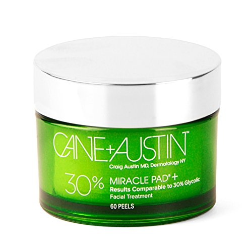CANE + AUSTIN Miracle Pad Plus, 30% Glycolic Acid Exfoliating Face Peel Pads, Provides Maximum Anti Aging Results While Improving Skin Tone & Texture, 60 pre-medicated pads