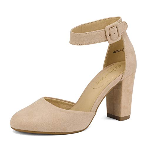 DREAM PAIRS Women's Nude Suede High Heel Ankle Strap Party Pumps Shoes Size 6.5M US Angela