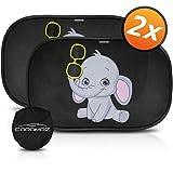 Parasol coche infantil con protección UV - autoadhesivo, para proteger del sol a bebés y mascotas (2 unidades), parasol coche bebé con elefante