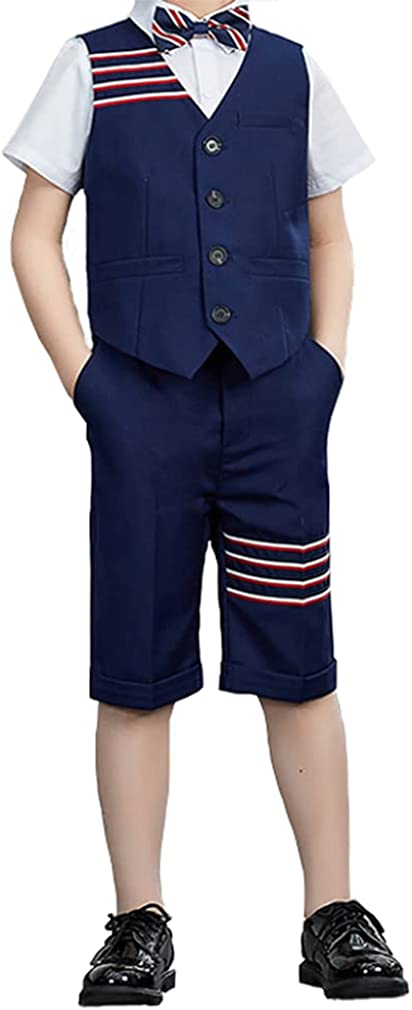YUFAN Boys Summer Suit Set 3 Colors 4 Pieces Vest Shirts Shorts and Bowtie