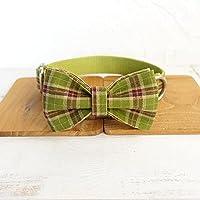 犬の蝶ネクタイと鎖のセット緑の格子縞の蝶ネクタイ犬の首輪調節可能なペットの綿の犬の猫のネックレス大型、中型、小型犬に適しています