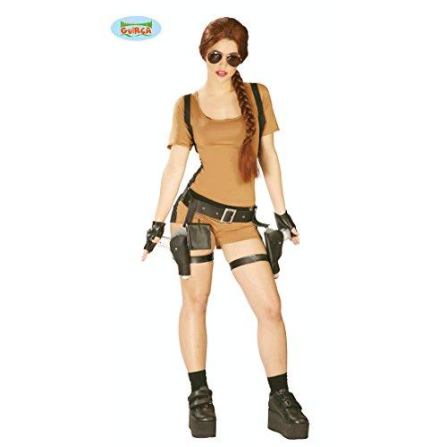 Amakando Tomb Raider Damenkostüm - L (42/44) - Adventure Jumpsuit Abenteurer Kostüm Damen Abenteurerin Verkleidung Heldin Outfit Kriegerin Lara Croft Kostüm