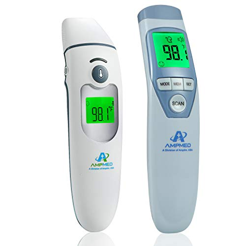 Amplim CA1 and F1 Infrared Thermometer Bundle - Non Contact Digital Forehead Thermometer for Adults, Kids, Baby Head Fever. Contactless, Touchless, No Touch, Instant Read IR Temporal/Ear Temperature
