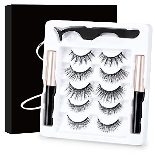 Ciglia Magnetiche Kit con Eyeliner Magnetico 5 Paia Di Ciglia Finte Naturali E Di Lunga Durata di Ciglia Magnetiche Riutilizzabile Senza Bisogno di Colla