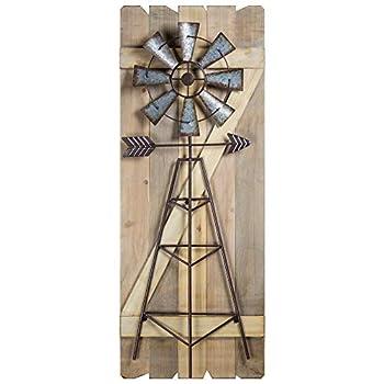 Crystal Art Gallery American Art Decor Windmill Arrow Wood Metal Hanging Wall Decor