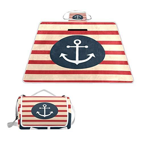 DragonSwordlinsu Coosun Picknickdecke mit Anker und Streifen, praktische Matte, schimmelresistent und wasserdicht, für Picknicks, Strand, Wandern, Reisen, Reisen und Ausflüge