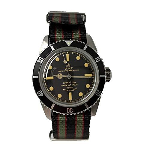 Walter Mitt Sea Diver Bond Acero Automático Negro Ámbar Tela NATO Reloj Vintage Unisex