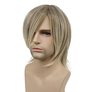 Aimole Blonde Straight Wig Synthetic Hair For Men Cosplay Halloween Medium Long Wigs